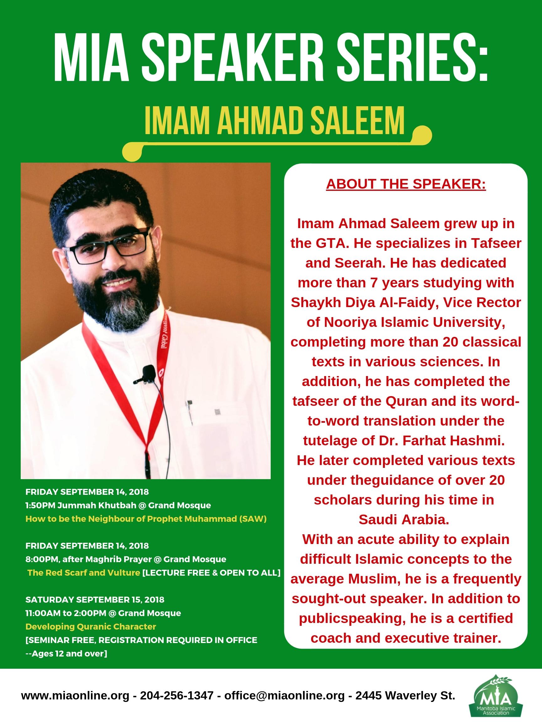 MIA Speaker Series: Imam Ahmad Saleem (Sept 14-15) - MIA online